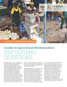 Gender in Agricultural Mechanization: Key guiding questions.