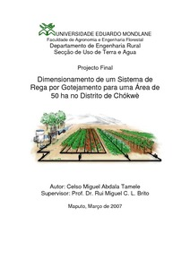 Design of a drip irrigation system for an area of 50 Ha in