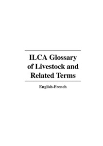 ILCA Glossary Of Livestock And Related Terms