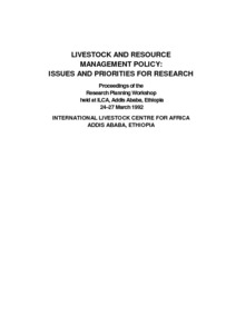 Livestock and Resource Management Policy: Issues and Priorities for