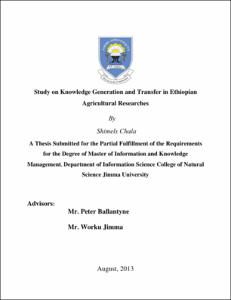 Study on knowledge generation and transfer in Ethiopian agricultural