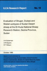 Evaluation of Shugor, Dubasi and Watish Subtypes of Sudan Desert