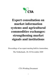 Expert consultation on market information systems and