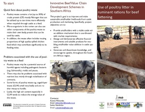 Use of poultry litter in ruminant rations for beef fattening