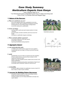 Case Study Summary: Horticulture Exports from Kenya: Are
