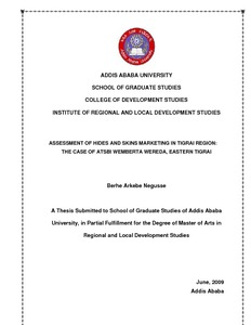 ADDIS ABABA UNIVERSITY SCHOOL OF GRADUATE STUDIES COLLEGE OF