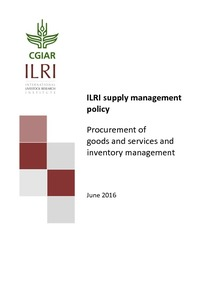 ILRI supply management policy: Procurement of goods and