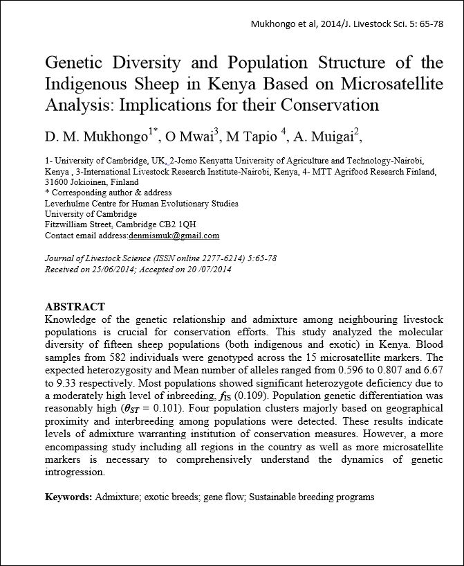 Genetic diversity and population structure of the indigenous