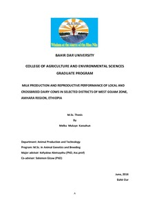 BAHIR DAR UNIVERSITY COLLEGE OF AGRICULTURE AND