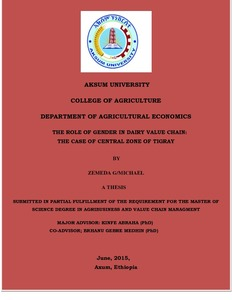 AKSUM UNIVERSTY AKSUM UNIVERSITY COLLEGE OF AGRICULTURE DEPARTMENT