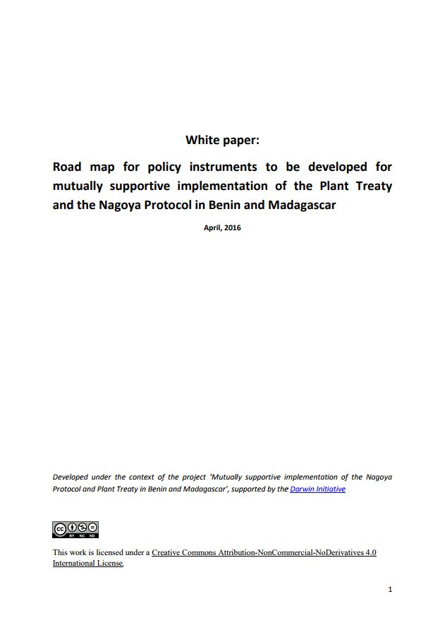 Road map for policy instruments to be developed for mutually road map for policy instruments to be developed for mutually supportive implementation of the plant treaty and the nagoya protocol in benin and madagascar publicscrutiny Choice Image