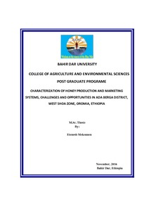 BAHIR DAR UNIVERSITY COLLEGE OF AGRICULTURE AND ENVIRONMENTAL