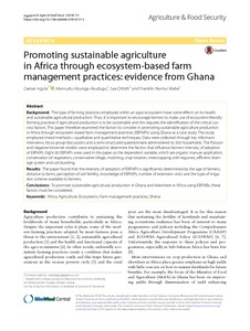 Promoting sustainable agriculture in Africa through