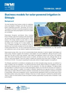 Business models for solar-powered irrigation in Ethiopia