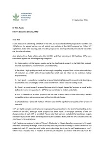 Cover letter for submission of assessments of 11 CRPs and 3 ...